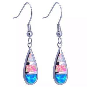Silver Tone Multicolored Glitter Dangle Earrings